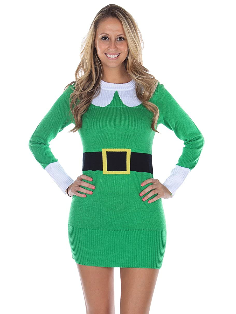 1756a5d9dbe Tipsy Elves Women s Ugly Christmas Sweater - Green Elf Sweater Dress at  Amazon Women s Clothing store