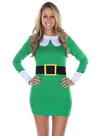 a7205c5770e Tipsy Elves Women s Ugly Christmas Sweater - Elf Sweater Dress Green Size XS