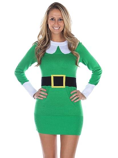 Tipsy Elves Women\u0027s Ugly Christmas Sweater , Elf Sweater Dress Green Size XS