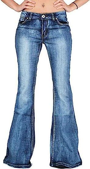 Women's Denim Jeans Pants Mid Rise Slim Bell Bottom Flared Pants Trouser