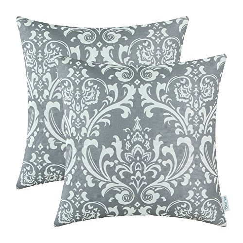 CaliTime Pack of 2 Soft Canvas Throw Pillow Covers Cases for Couch Sofa Home Decoration Vintage Solid Damask Floral 18 X 18 Inches Medium Grey (Pillows Country French)