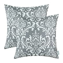 Pack of 2 CaliTime Throw Pillow Covers 18 X 18 Inches, Vintage Damask Floral, Grey