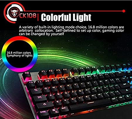 Motospeed CK108 Teclado Mecanico con 104 Teclas, Teclado RGB con Cable, Teclado Retroiluminacion USB con Eje Azul, Teclado Gaming de Color Negro