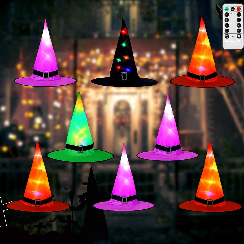 LUNSY Halloween Decorations, 8Pcs Witch Hat String Lights with Remote, Indoor Outdoor Halloween Decor for Garden, Yard, Home, Orange/Purple/Green/Black