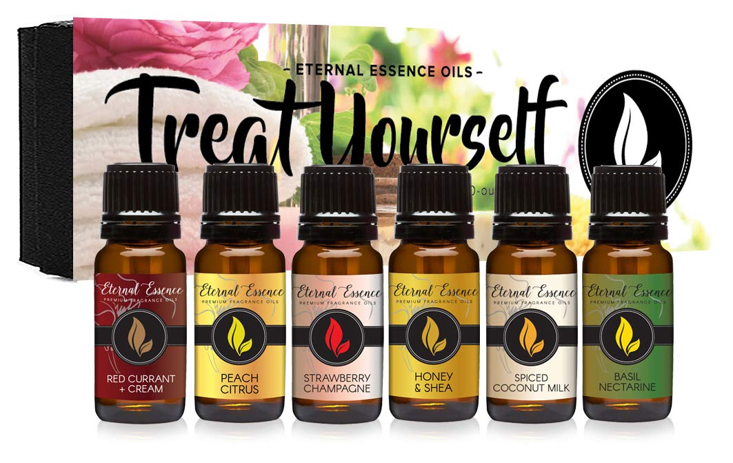Treat Yourself - Gift Set of 6 Premium Fragrance Oils - Red Currant & Cream, Strawberry Champagne, Spiced Coconut Milk, Peach Citrus, Honey & Shea, Basil Nectarine