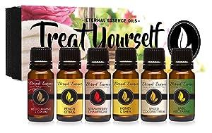 Treat Yourself - Gift Set of 6 Premium Fragrance Oils - Red Currant & Cream, Strawberry Champagne, Spiced Coconut Milk, Peach Citrus, Honey & Shea, Basil Nectarine