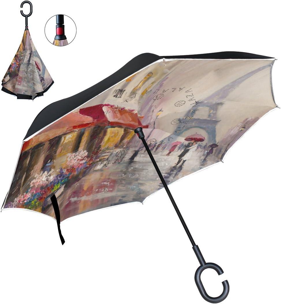 Car Reverse Folding Umbrella Inverted Umbrella with Vintage Pig Farm Distressed Print