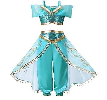 QSEFT® Conjunto de Vestido de jazmín de Aladdin para niñas, Fiestas, Fiestas, Disfraces, Disfraces de fantasía, Vestido de Princesa para niños: Amazon.es: ...
