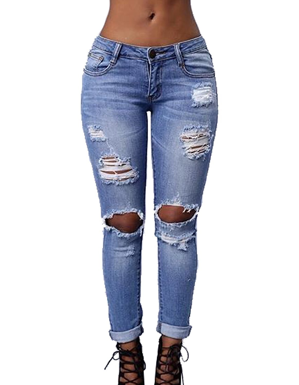 Women's Knee Ripped Stretch Denim Distressed Slim Fit Boyfriend Jeans Large Blue
