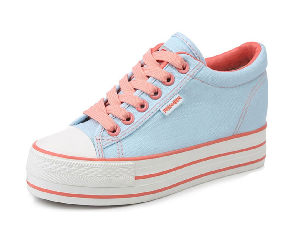 Aisun Women's Casual Round Toe Elevator Thick Sole Lace Up Platform Canvas Sneakers Shoes B07477RDD5 6 B(M) US|Sky Blue