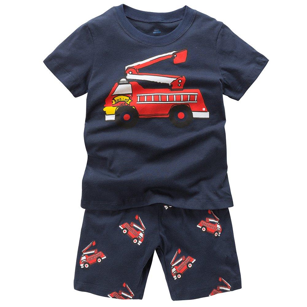 B.GKAKA Short Pajamas Fire-Engine Toddler Boys PJS 2 Piece Size Navy-car 5 Toddler