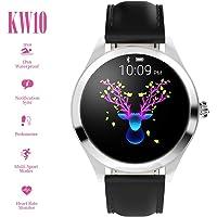 Smart Watch KW10,pantalla táctil redonda IP68 Smartwatch a prueba de agua para el período de las mujeres,rastreador de ejercicios con ritmo cardíaco y podómetro para dormir,pulsera para iOS / Androi