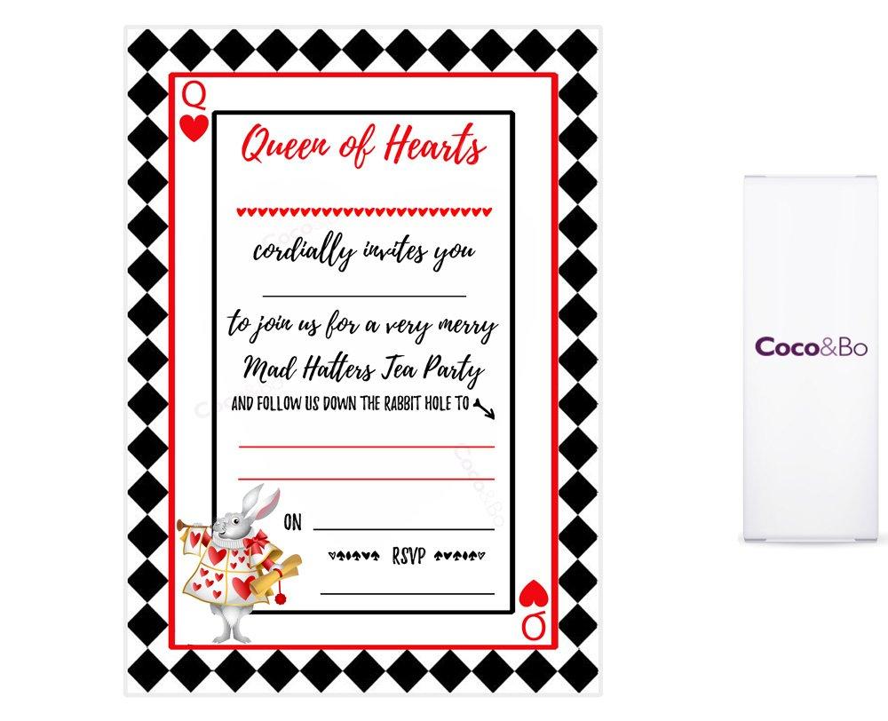 5 x Coco&Bo - Queen of Hearts Tea Party Invitations - Alice in ...