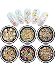 Nail Art Crystals Studs Decorations 3D Nail Art Rhinestones Gems Decals for Women 6 Boxes Mixed Patterns of Stars Moons Triangle Rivets Diamonds Manicure Wraps Fingernail Tips Accessories & Supplies
