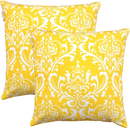 TreeWool, (Pack of 2) Damask Accent Throw Pillow Covers in Cotton Canvas (16 x 16 Inches; Yellow & (16