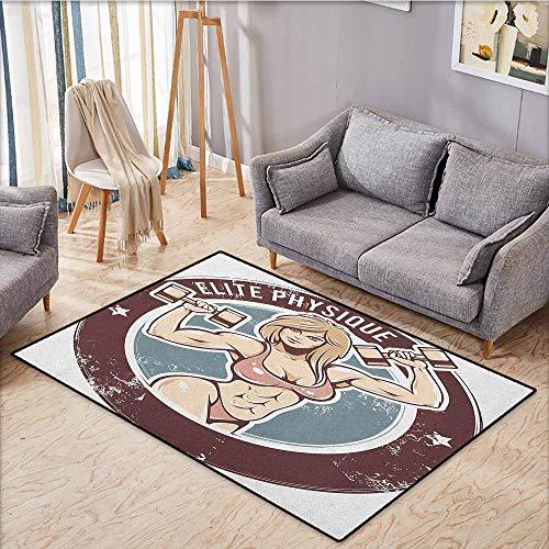 Hallway Rug,Fitness,Retro Style Sexy Lady with Dumbbells Elite Physique Grunge Display,Anti-Slip Doormat Footpad Machine Washable,3'11