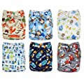 Baby Cloth Diapers - With Snaps - Gift Set Of 6 - All In One Size -Reusable - Washable -Diapers With 6 Microfiber Inserts Absorbent and No Leaks, Soft For Skin, By Genio Baby