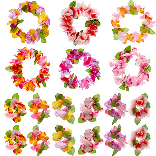 Jovitec 54 Pack Luau Tropical Hawaiian Headband Floral Leis Headband and Wristband for Costume Party Decoration Supplies, 6 Colors]()