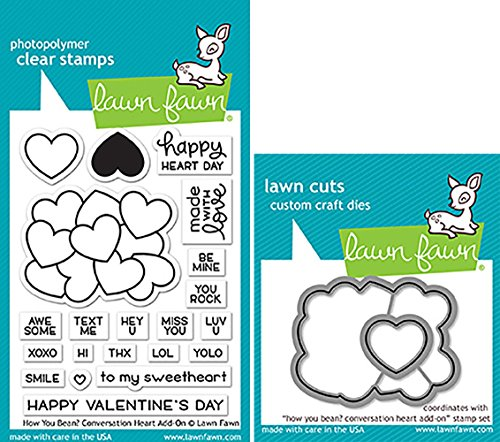 - Lawn Fawn How You Bean Conversation Heart Add-On Clear Stamps and Dies Bundle LF1553 LF1554 (Set of 2)
