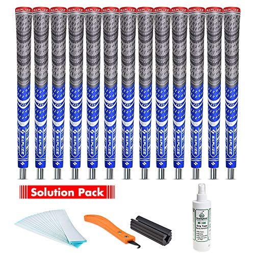 SAPLIZE Golf Grips(13 Grips with regriping kit), Cord Rubber, CL03 Golf Club Grips, Mid Size, Blue