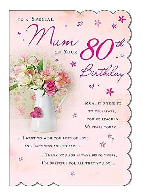 Bonita tarjeta de felicitación del cumpleaños 80, de alta calidad ...