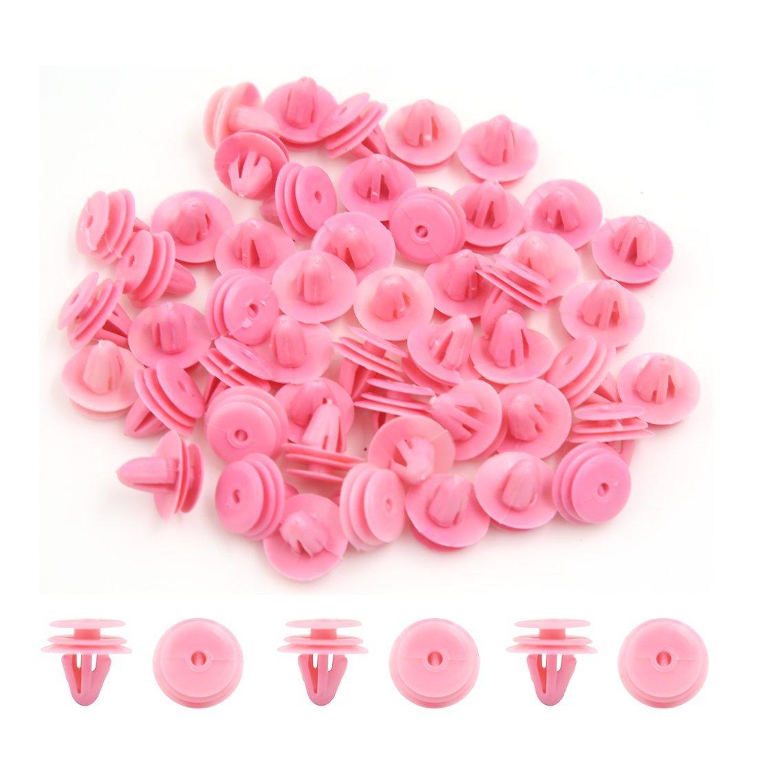 50Pcs 10mm Hole Pink Plastic Push in Rivet Interior Trim Panel Car Door Clips