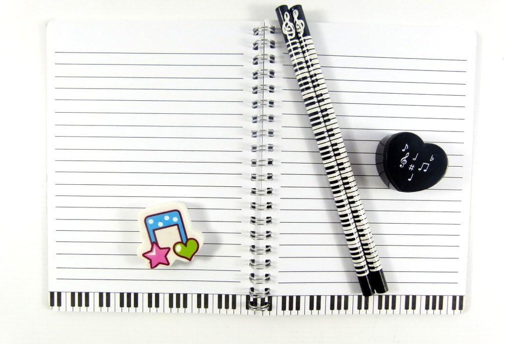color/é de musique phonographe portable gomme et taille-crayon ensemble de Musique papeterie orient/ée crayons HB