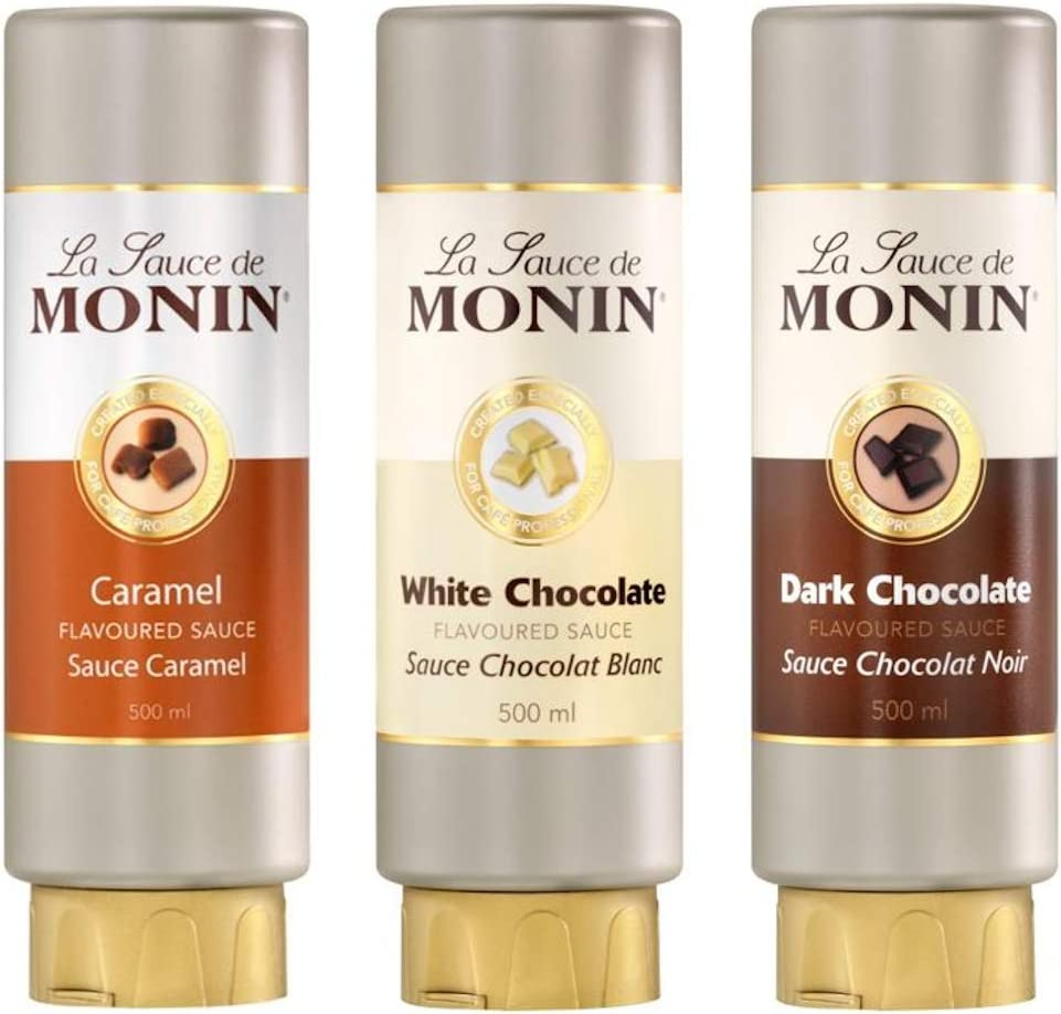 Monin Flavoured Sauces Set Caramel Dark And Light Chocolate 3 Pieces Set 3 X 500 Ml Amazon Co Uk Kitchen Home