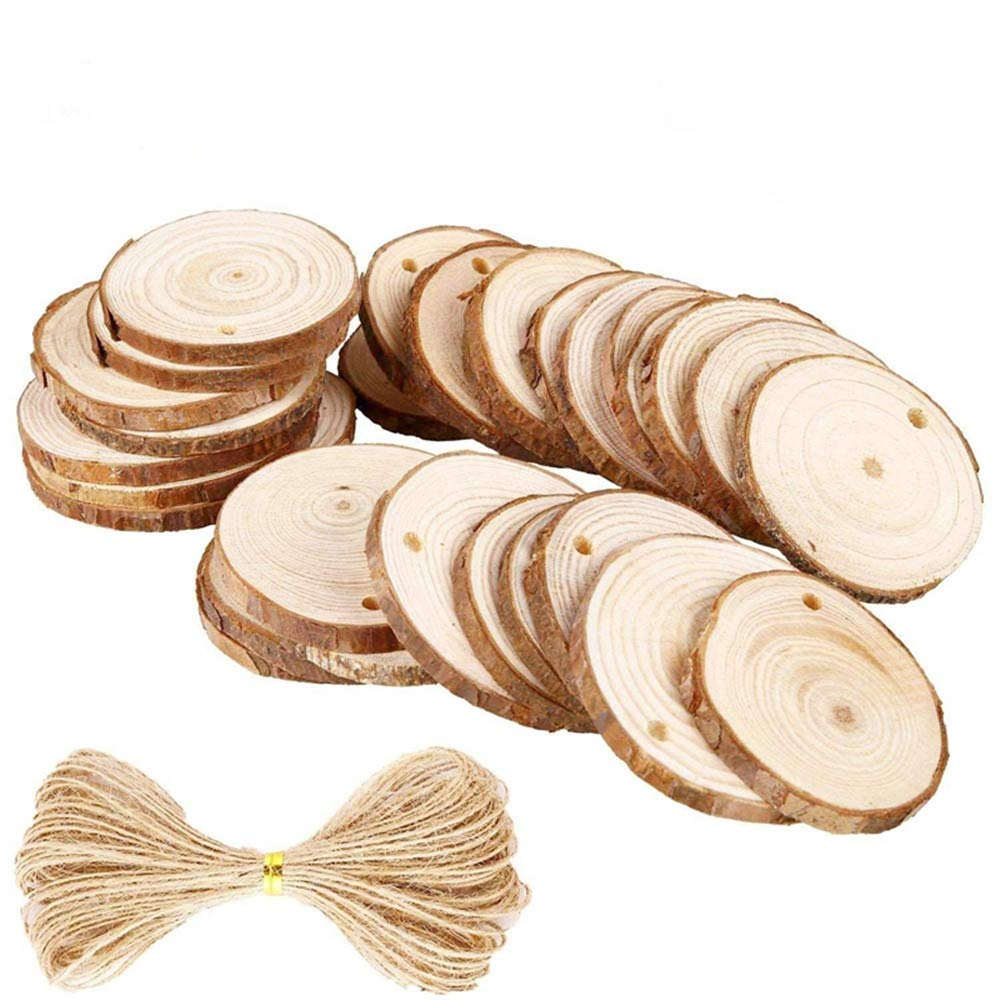 Natural Wood Slices 25Pcs 2.4 2.8 Craft Wood kit Unfinished Predrilled with Hole Wooden Circles Great for Arts and Crafts Christmas Ornaments DIY Crafts