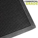 Heavy Duty Fingertip Scraper Entrance Mat - 24 Inch by 32 Inch - Rubber Outdoor Sanitizing Floor Rug