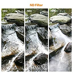 K&F Concept 77mm ND Fader Variable Neutral Density Adjustable ND Filter ND2 to ND400 for Canon 6D 5D Mark II 5D Mark III for Nikon D610 D700 D800 DSLR Cameras + Lens Cleaning Cloth