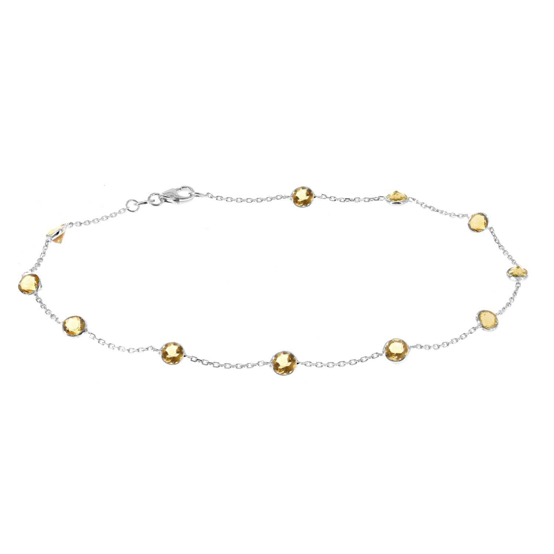 14k White Gold Handmade Station Anklet With Citrine Gemstones 9 - 11 Inches