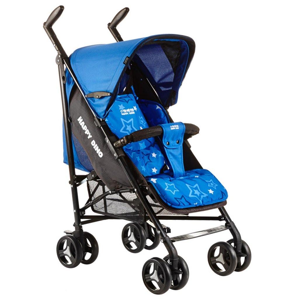 HAIZHEN マウンテンバイク ベビーカートは座る/軽い夏Foldable調節可能な日除けの日よけの衝撃吸収EVAの泡のタイヤベビーキャリッジ52 * 78 * 109cmを横たえることができる 新生児 B07DLC5BJP青
