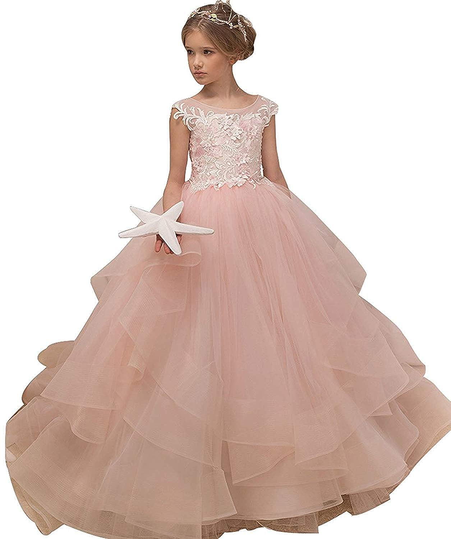 Rose  Enfant Fille Robe de Soirée Cérémonie Robe de Demoiselle d'honneur Mariage Robe de Mariee Robe Ceinture à FleurRobe de Fête 2-14 Ans
