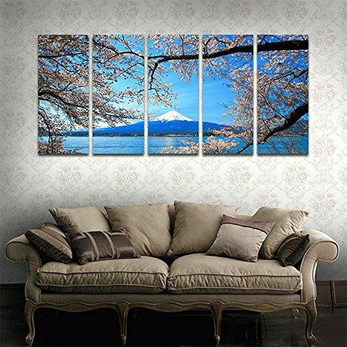 [해외]CyiohArt-5 패널 아트 패널 「 푸른 하늘에 벚꽃 벚꽃이 가득한 후지산 」 벽 풍경 사진 벽 사진을 회화 화포 회화 홈 장식 (49 인치 x24 인치, 크 레이트 된 완제품) / CyiohArt - 5 Panel Art Panel \\