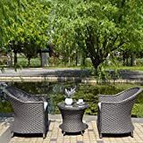 Joveco 3-Piece Outdoor Patio Wicker Ratten Coffee Dining Table Set Egg chair with Cushion - (Set of Three)