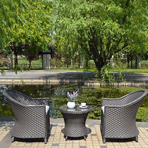 Joveco 3-Piece Outdoor Patio Wicker Ratten Coffee Dining Table Set Egg chair with Cushion – (Set of Three) Review