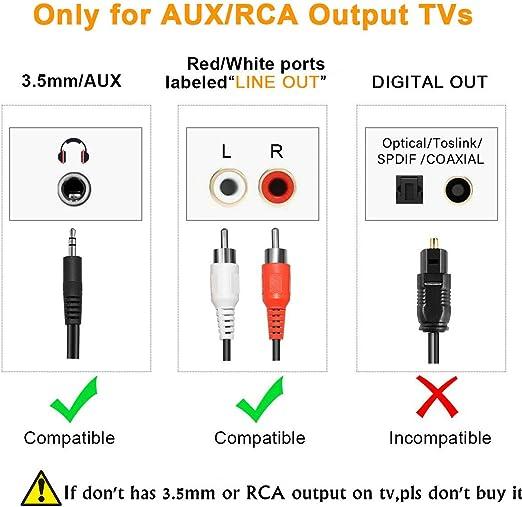 Transmisor Bluetooth para TV, PC (soporta 3.5mm, RCA, USB audio de PC) Conexión Dual Adaptador Inalámbrico de Audio para Auriculares, Baja Latencia, Alta Fidelidad Estéreo, Plug and Play: Amazon.es: Electrónica