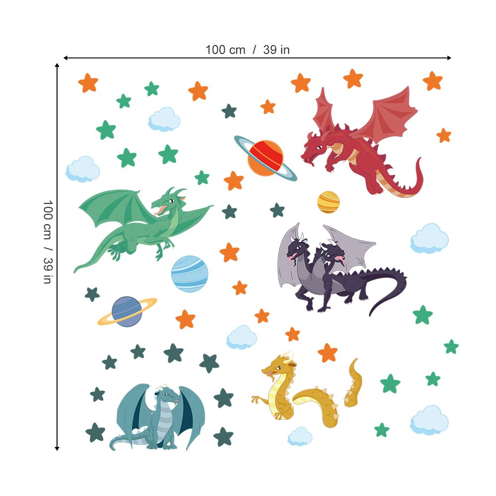 decalmile Colorful Dragon Wall Decals Planets Stars Wall Stickers Playroom Boys Bedroom Kids Room Wall Decor