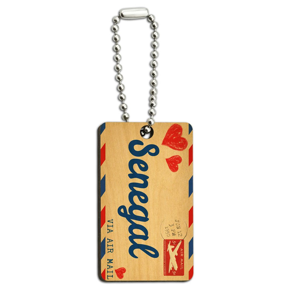 Air Mail Postcard Love for Senegal Wood Wooden Rectangle Key Chain