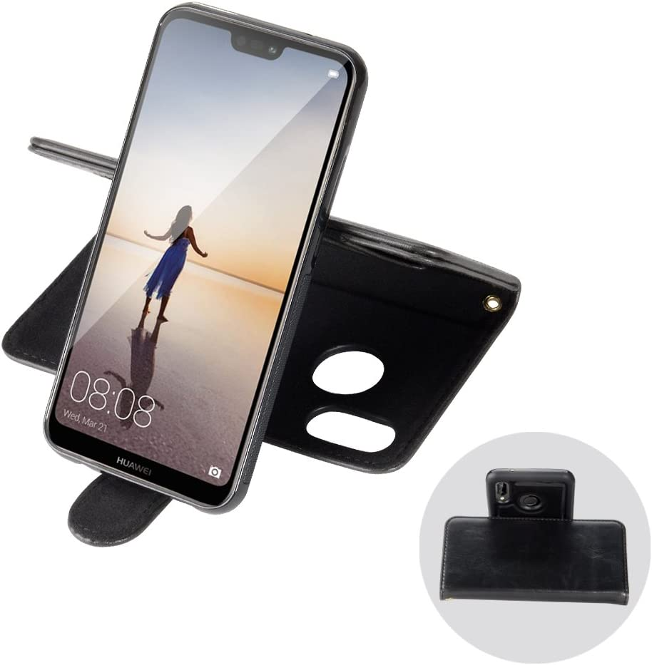 Black Huawei P20 Case-SHANSHUI Detachable 2-in-1 PU Leather Wallet Case with 3 RFID Blocking Card Holders Cash Pocket Slim Back Cover Wrist Strap