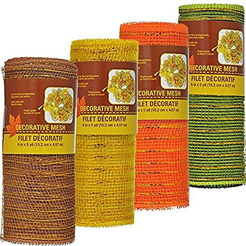 Decorative Harvest Mesh in Fall Colors Set of 4 - Orange, Yellow, Green and Brown 5 Yards each