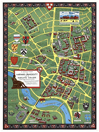 A Scott-Map of Harvard University and of Radcliffe College, Cambridge, Massachusetts, 1959 | Historic Antique Vintage Map (Harvard University Art)