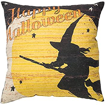 Primitives by Kathy Decorative Happy Halloween Throw Pillow, 16-Inch Square
