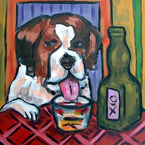 St. Bernard with Whiskey shot dog art tile coaster gift -
