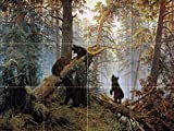 Morning in a pine forest by Ivan Shishkin Tile Mural Kitchen Bathroom Wall Backsplash Behind Stove Range Sink Splashback 4x3 6'' Ceramic, Matte