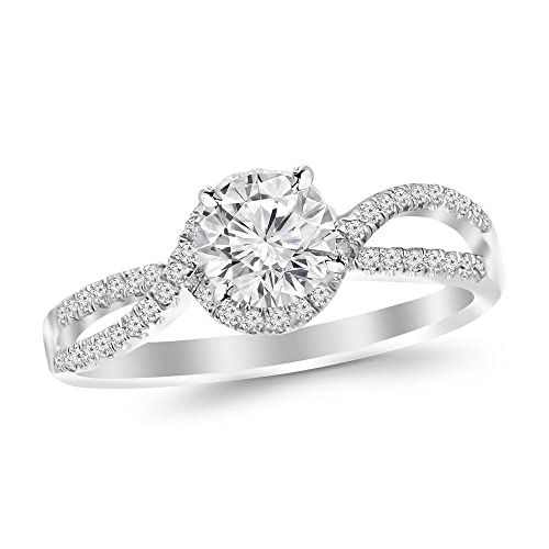 0.57 Cttw 14K White Gold Round Cut Twisting Curving Halo Style Split Shank Diamond Engagement Ring w...