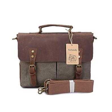 sulandy Retro Designer Mens Canvas Leather Satchel Messenger ...