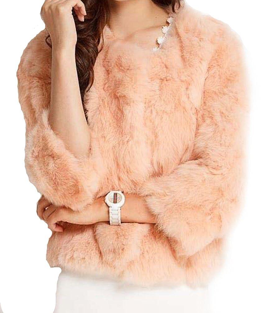 Helan Women's Short Real Rabbit Fur Coat