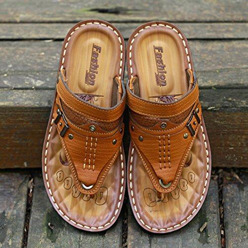 ZHANGJIA Flip Flops, Sommer Unten, Fashion Toe Toe Sandalen, Füße, Rutschfeste Badeschuhe, Dual-Purpose Coole Hausschuhe, 41, Gelb